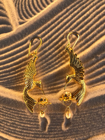 Hummingbird Lotus Earrings - 24K Gold Plated