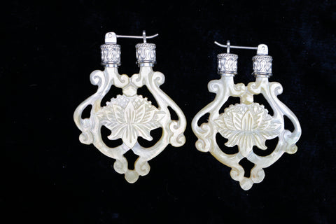 Lotus Earrings - Light Mother of Pearl - Silver Plated Bail
