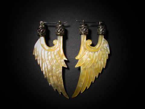 Angel Wing Earrings - Light Mother of Pearl - Brass Bail