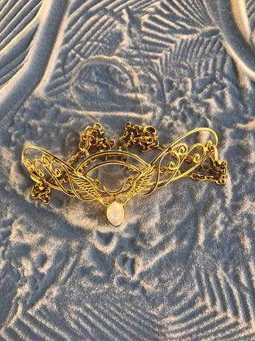 Spiral Tiara - 24K Gold Plated - Rainbow Moonstone ~ Unicorn Horn INCLUDED!!