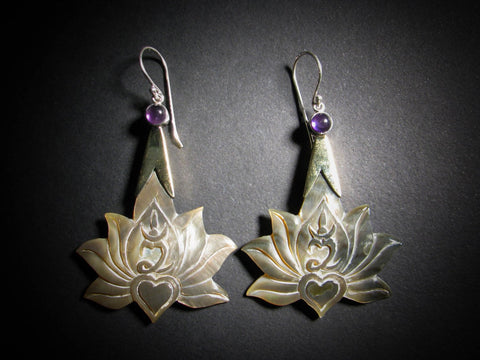 Lotus Om Drop Earrings - Dark Mother of Pearl
