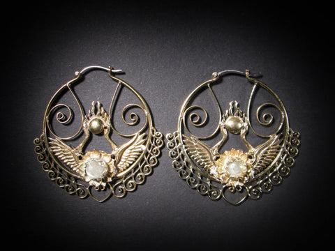 Shakti Bhakti Earrings - Brass - Rainbow Moonstone