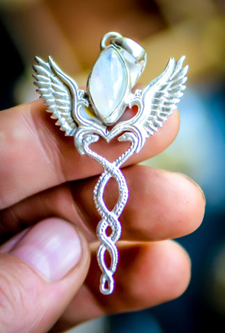 Caduceus Pendant - Sterling Silver - Rainbow Moonstone
