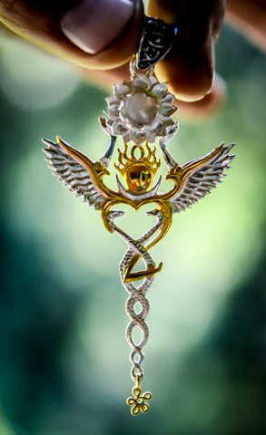 Creation Pendant - Sterling Silver / 24K Gold Vermeil - Rainbow Moonstone
