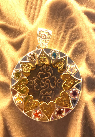 Compass of Love Pendant - Sterling Silver / 24K Gold Vermeil - Dark Mother of Pearl