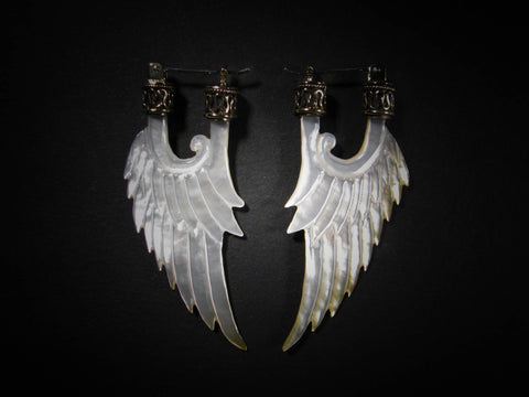 Angel Wing Earrings - Dark Mother of Pearl - Brass Bail