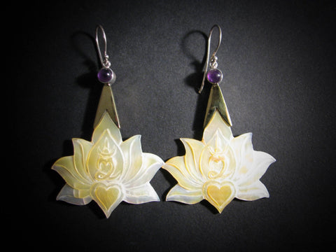 Lotus Om Drop Earrings - Light Mother of Pearl