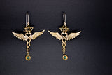 Caduceus Merkaba Earrings - Brass
