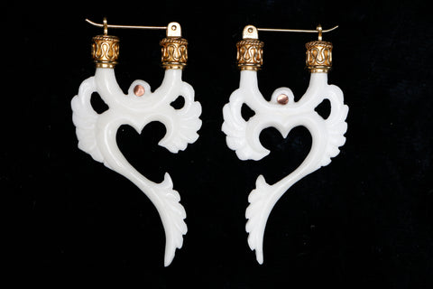 Winged Om Earrings - Bone - 24K Gold Bail