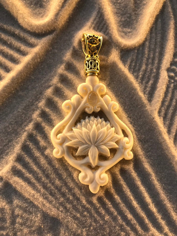 Lotus Pendant - Bone - Brass Bail