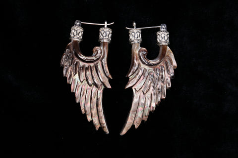 Angel Wing Earrings - Dark Mother of Pearl - Silver Plated Bail