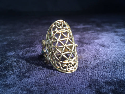 Flower of Life Ring - Shorty - Brass