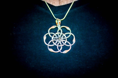 Flower of Life with Serpents Pendant