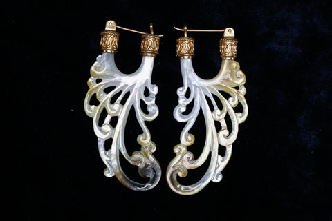 Water Earrings - Dark Mother of Pearl - 24K Gold Bail
