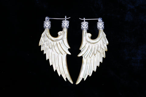 Angel Wing Earrings - Light Mother of Pearl - Silver Plated Bail