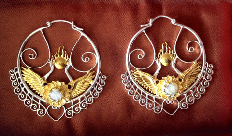 Shakti Bhakti Earrings - Sterling Silver / 24K Gold Vermeil - Rainbow Moonstone