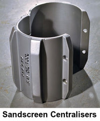 SANDSCREEN SPLIT CLAMP ON CASING CENTRALISER (CENTRALIZER)