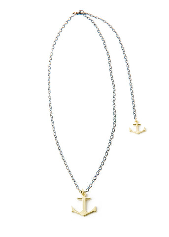 Anchor Necklace - Gold double anchor