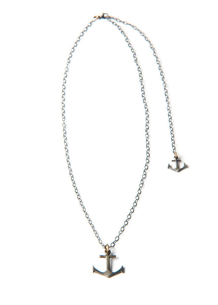 Anchor Necklace - Silver double anchor