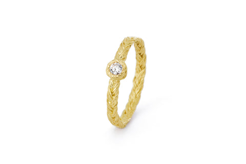 Braid ring - 18 ct. gold with diamond