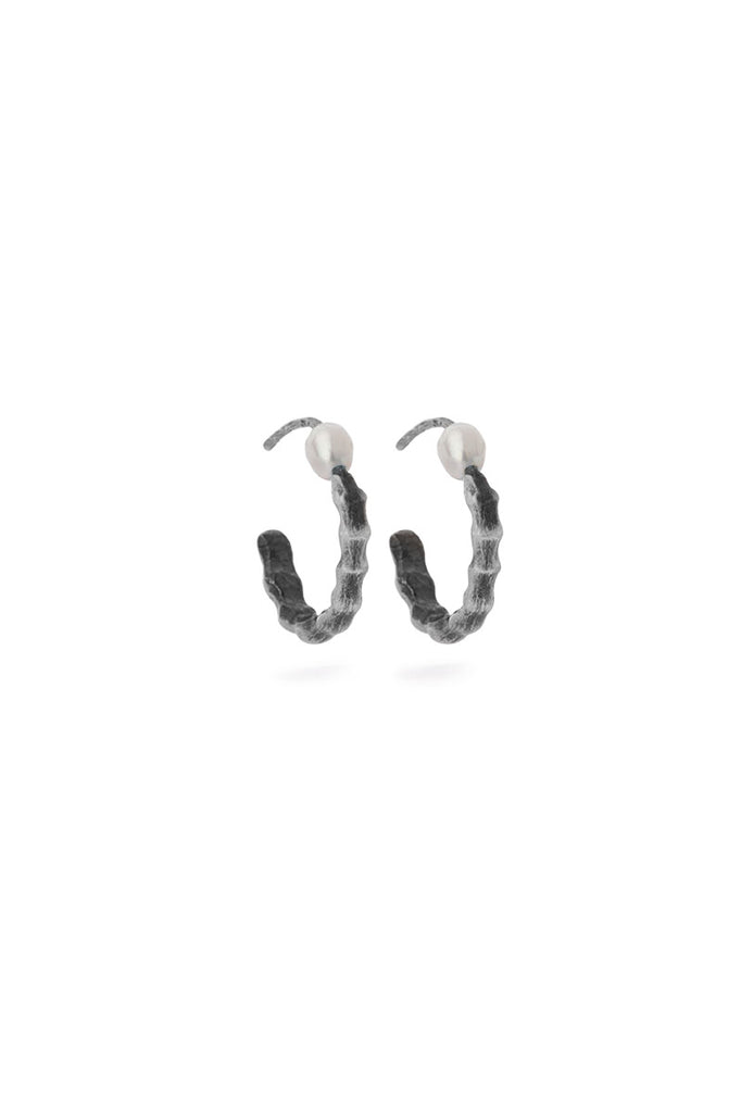 Milagros - earrings -  medium silver spine with pearls
