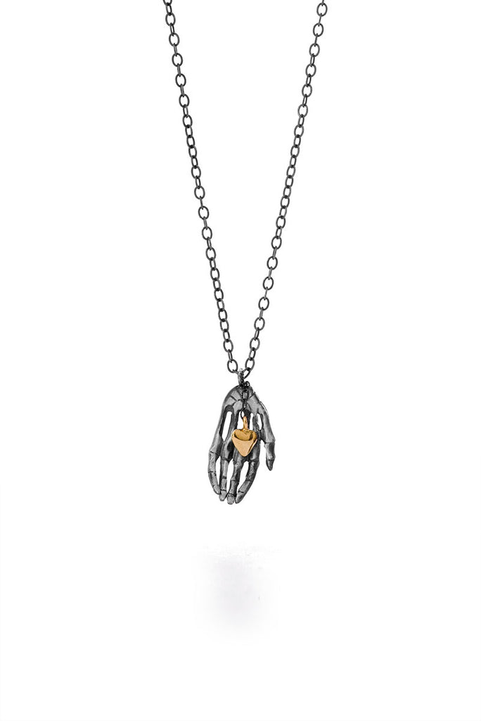 Milagros - necklace - silver hand with a small gold heart