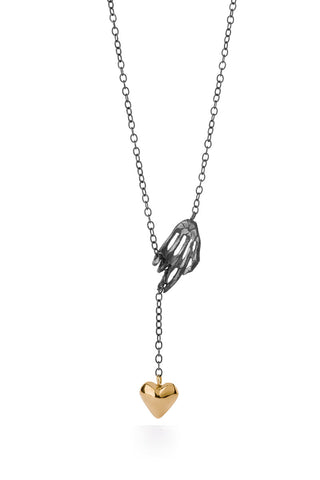 Milagros - necklace - silver hand with a big gold heart