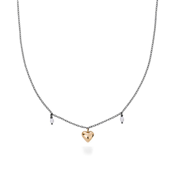 Milagros - necklace - big gold heart with pearls