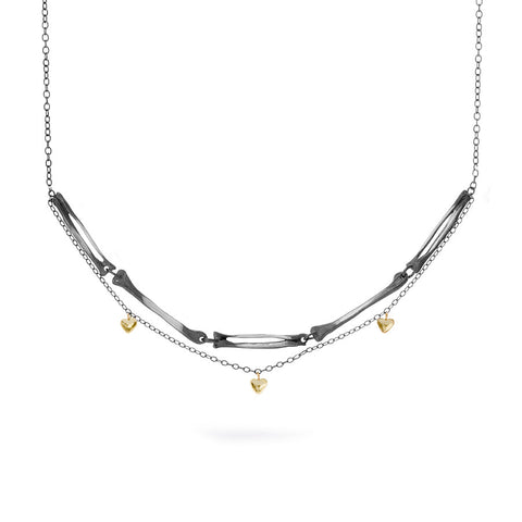 Milagros - necklace - silver arm bones and gold hearts