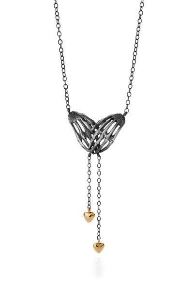 Milagros - necklace - silver hands with gold hearts