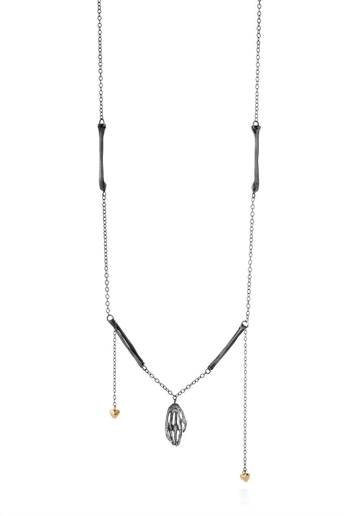 Milagros - necklace - silver hand with bronze bones and gold hearts