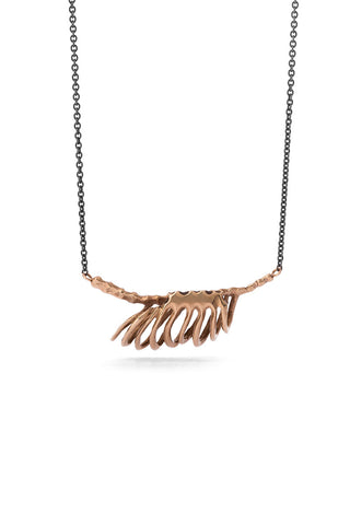 Milagros - necklace - bronze rib cage