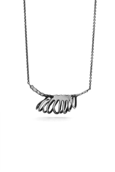 Milagros - necklace - silver rib cage