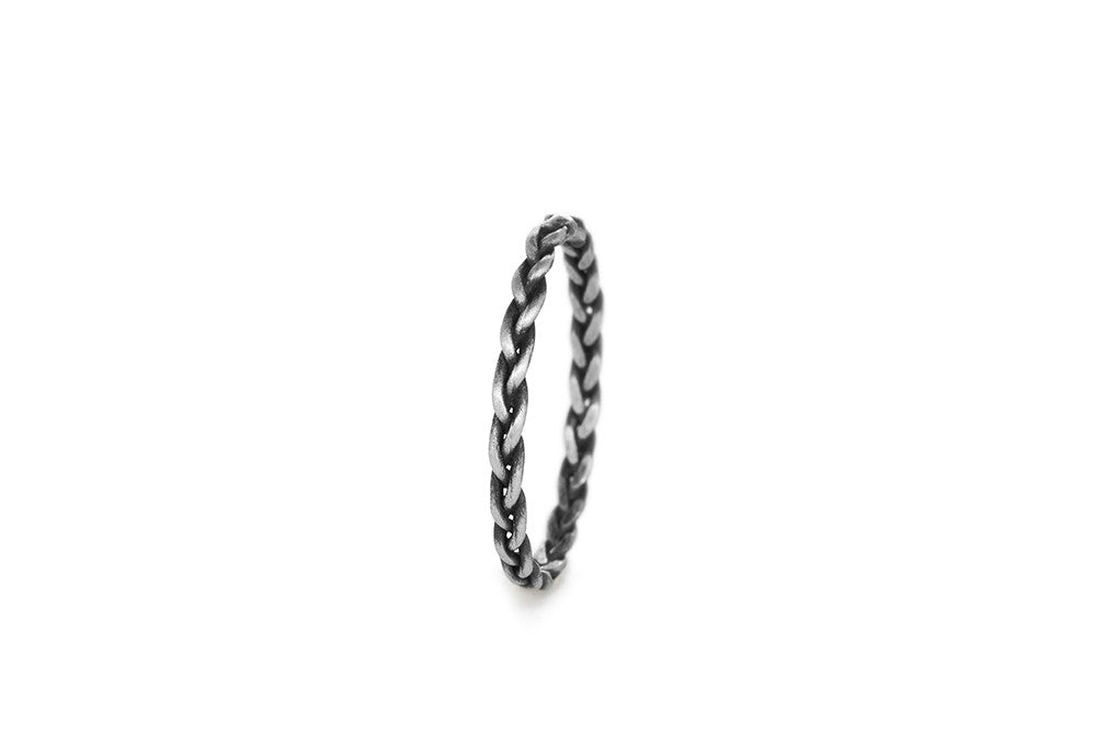 Braid Midi Ring - Silver rope braid