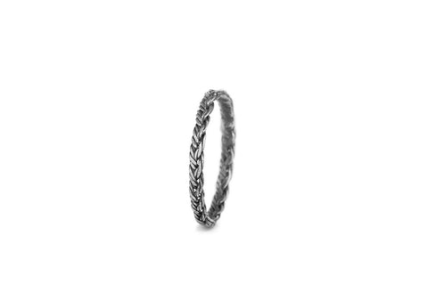Braid Midi Ring - Silver flat braid