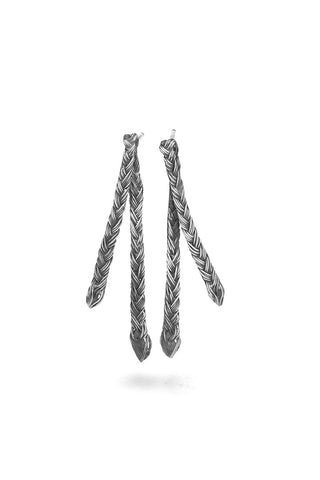 Braid Earrings - Silver double thin braid
