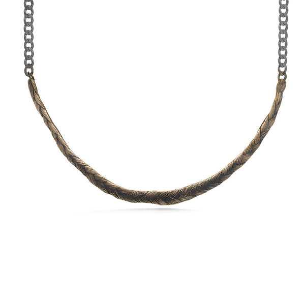 Braid Necklace - thick bronze braid