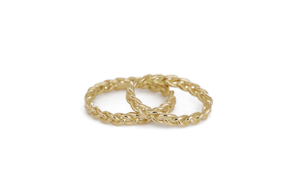 Braid Wedding Rings - Gold rope braid