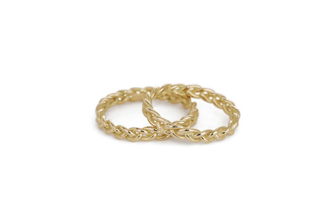 Braid Wedding Ring - Gold rope braid