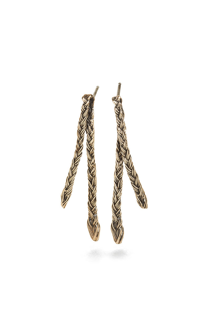 Braid Earrings - Bronze double thin braid
