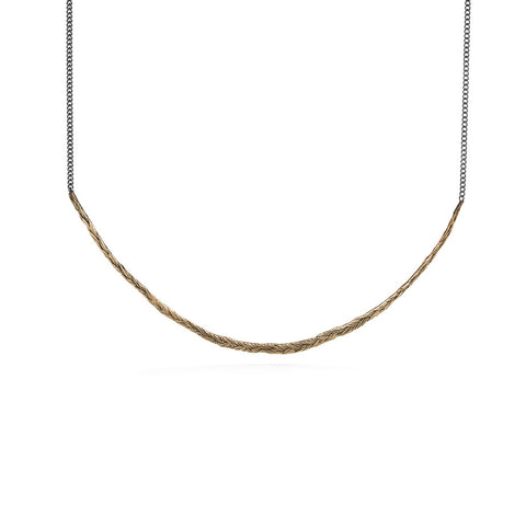 Braid Necklace - Single thin bronze braid