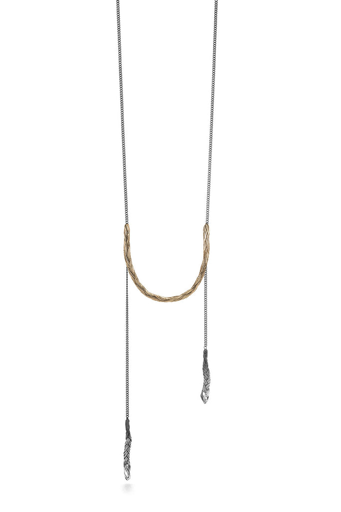 Braid Necklace - U-shaped bronze braid on long chain