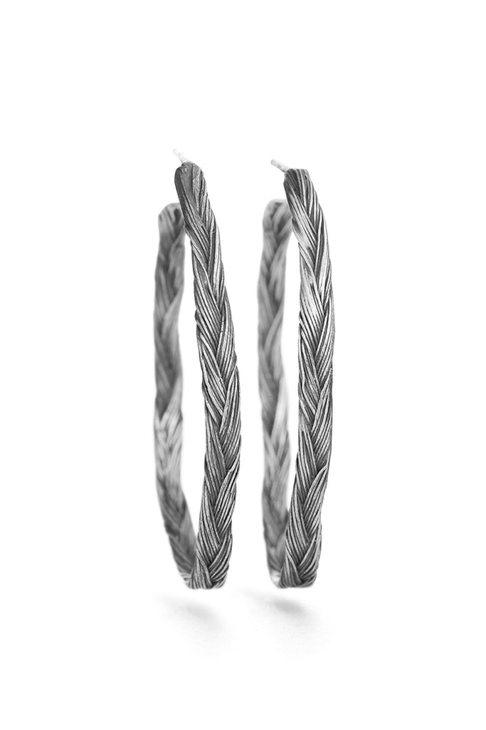 Braid Earrings - Silver hoops