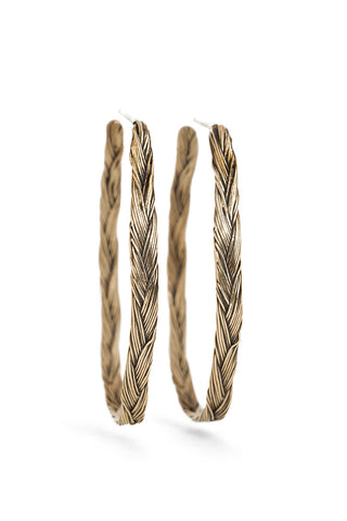 Braid Earrings - Bronze hoops