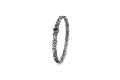 Braid Ring - Silver with black diamond