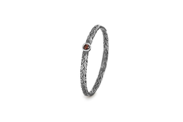 Braid Ring - Silver with red diamond
