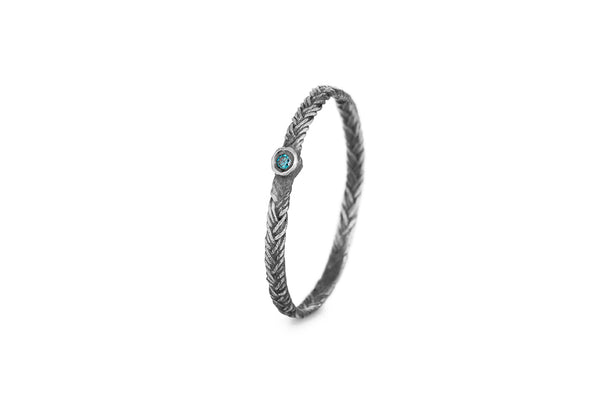 Braid Ring - Silver with blue diamond