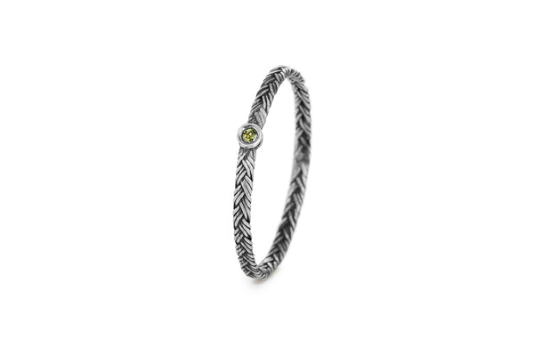 Braid Ring - Silver with green diamond