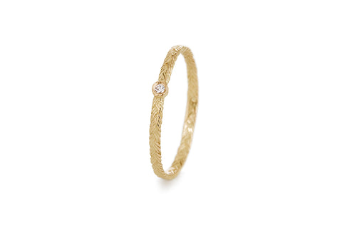 Braid Ring - Gold with white diamond