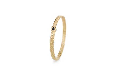 Braid Ring - Gold with black diamond